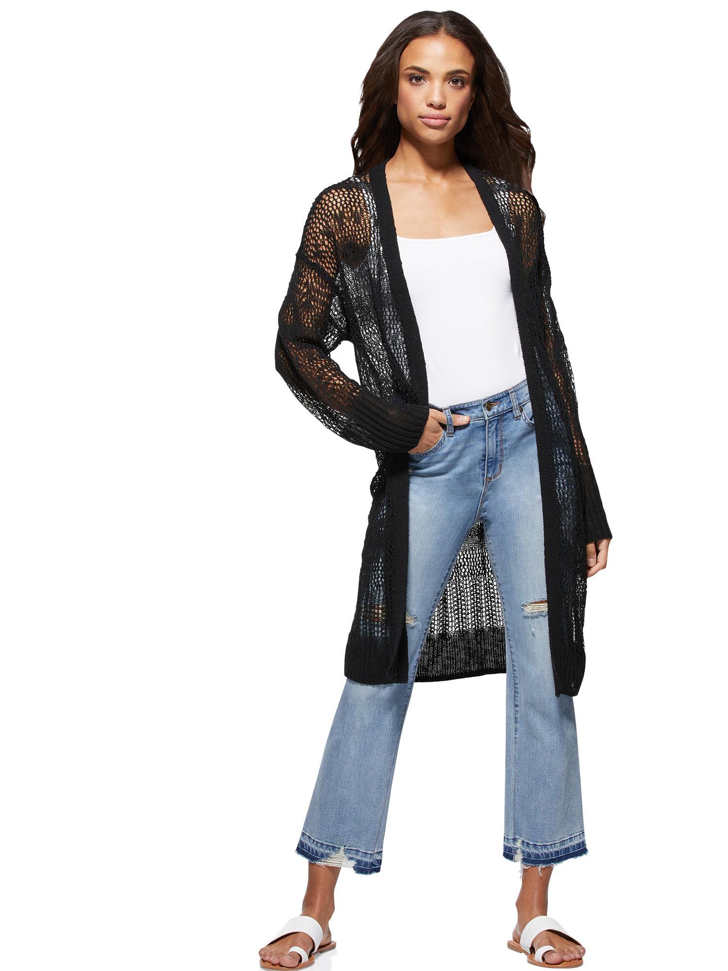 Model wearing open front cardigan