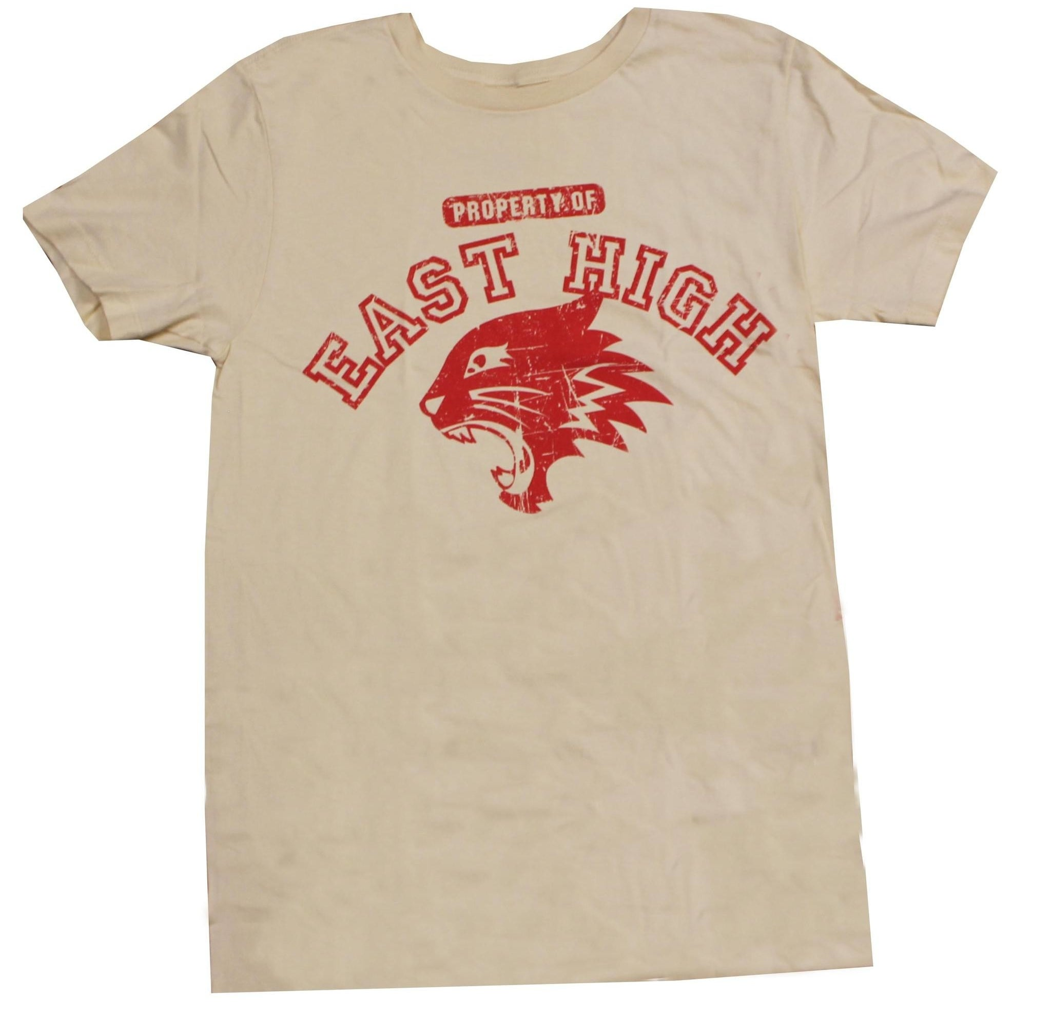 the tan tee with a the red east high logo
