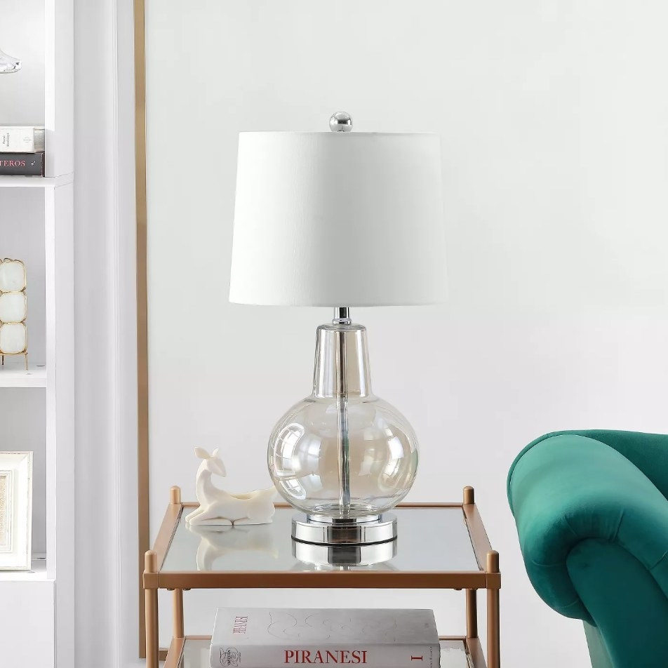 Glass lamp shade base with white lamp shade