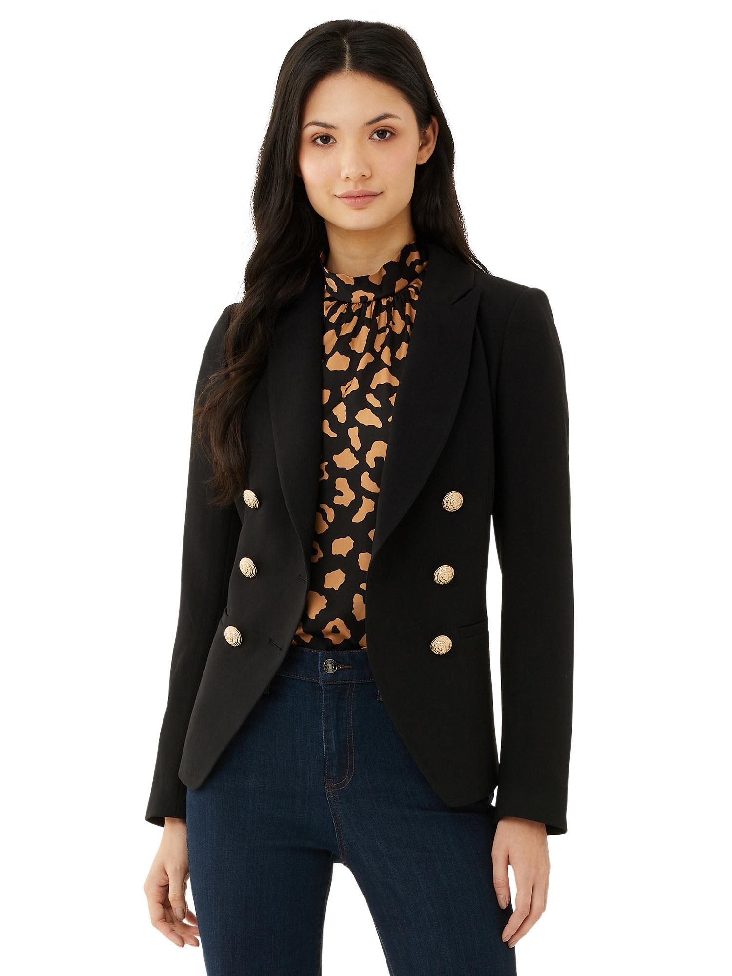 Model wearing a black blazer