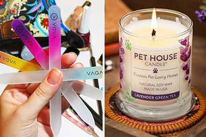 nail files and a pet house candle