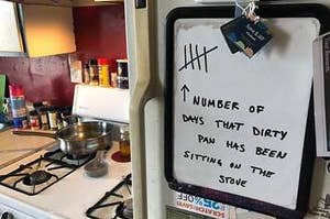 A tally on how long a dirty pan has been on the stove