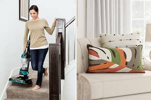 to the left: a model with a vacuum, to the right: a throw pillow with an orange, white, gray pattern on it