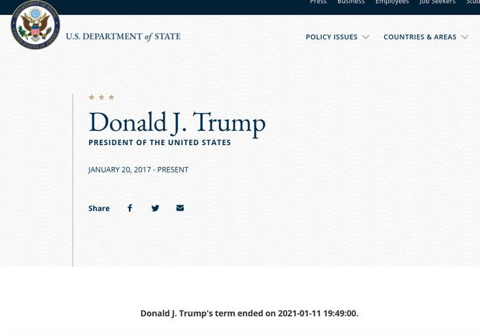 A screenshot of President Trump's biography on the State Department's website Monday afternoon. Source: Department of State (state.gov)