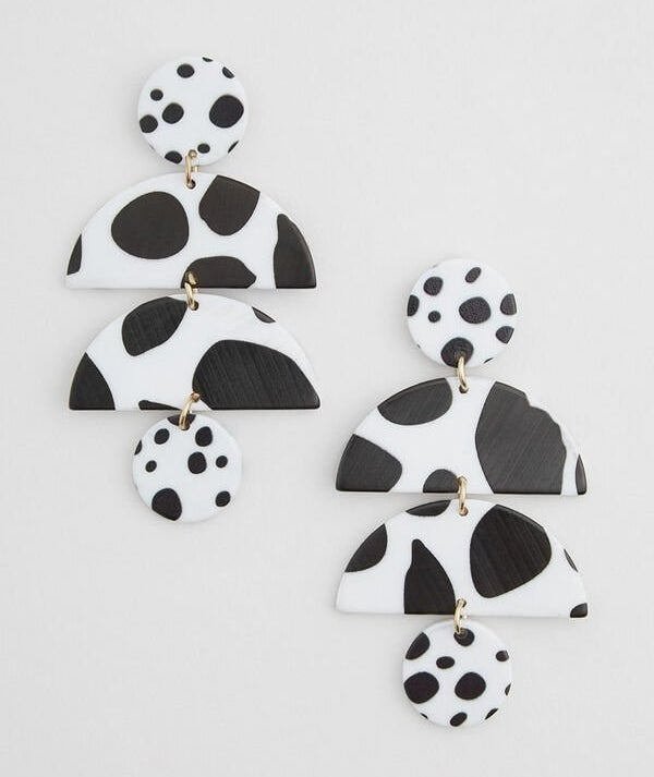 The crescent and circle drop earrings in black and white spots
