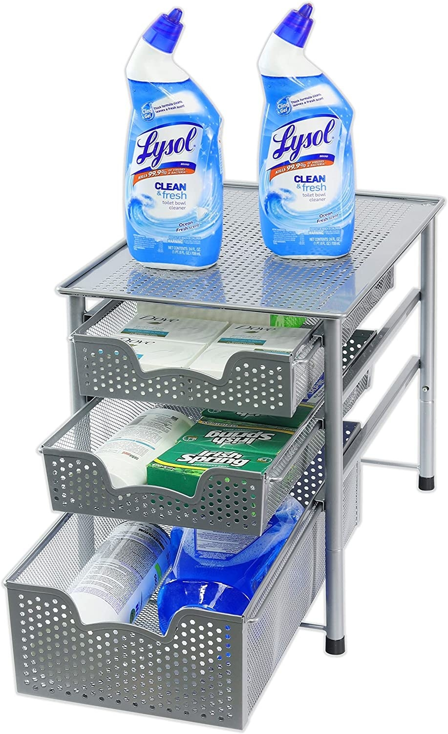 The organizer with three shelves and room to stack things on top