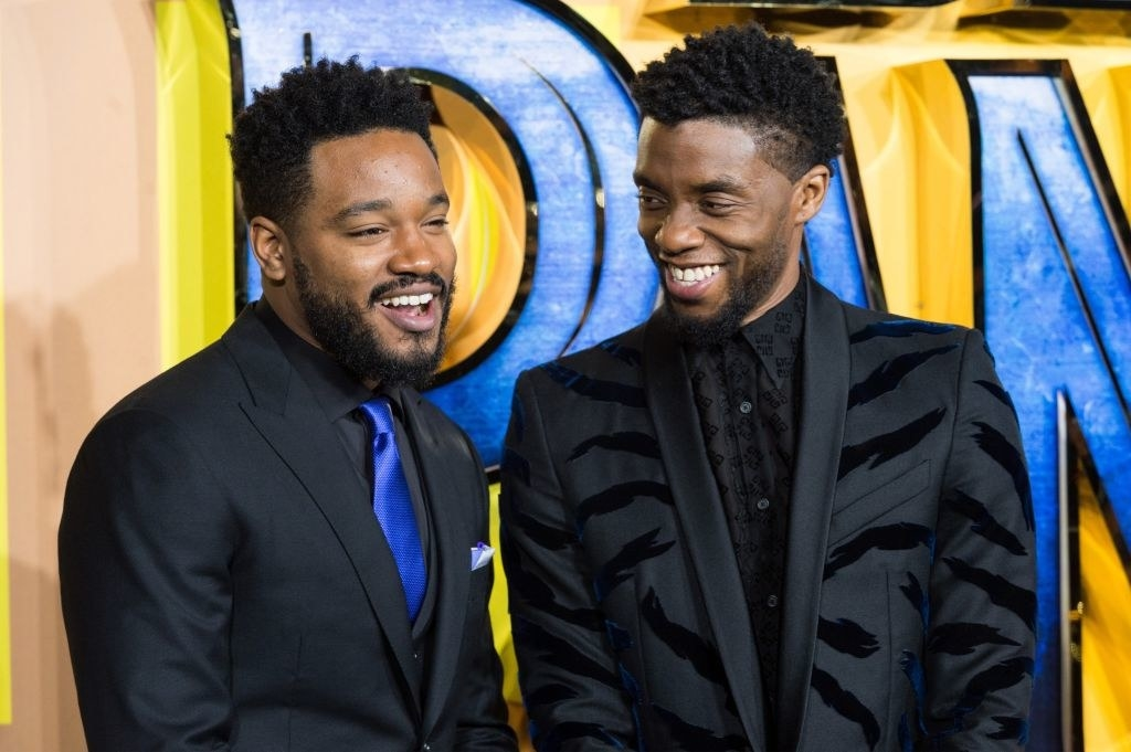 "Boseman with Ryan Coogler at the UK premiere of ""Black Panther"""