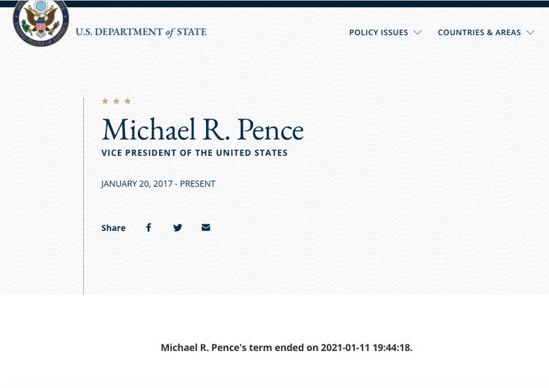 A screenshot of Vice President Pence's biography on the State Department's website Monday afternoon. Source: Department of State (state.gov)
