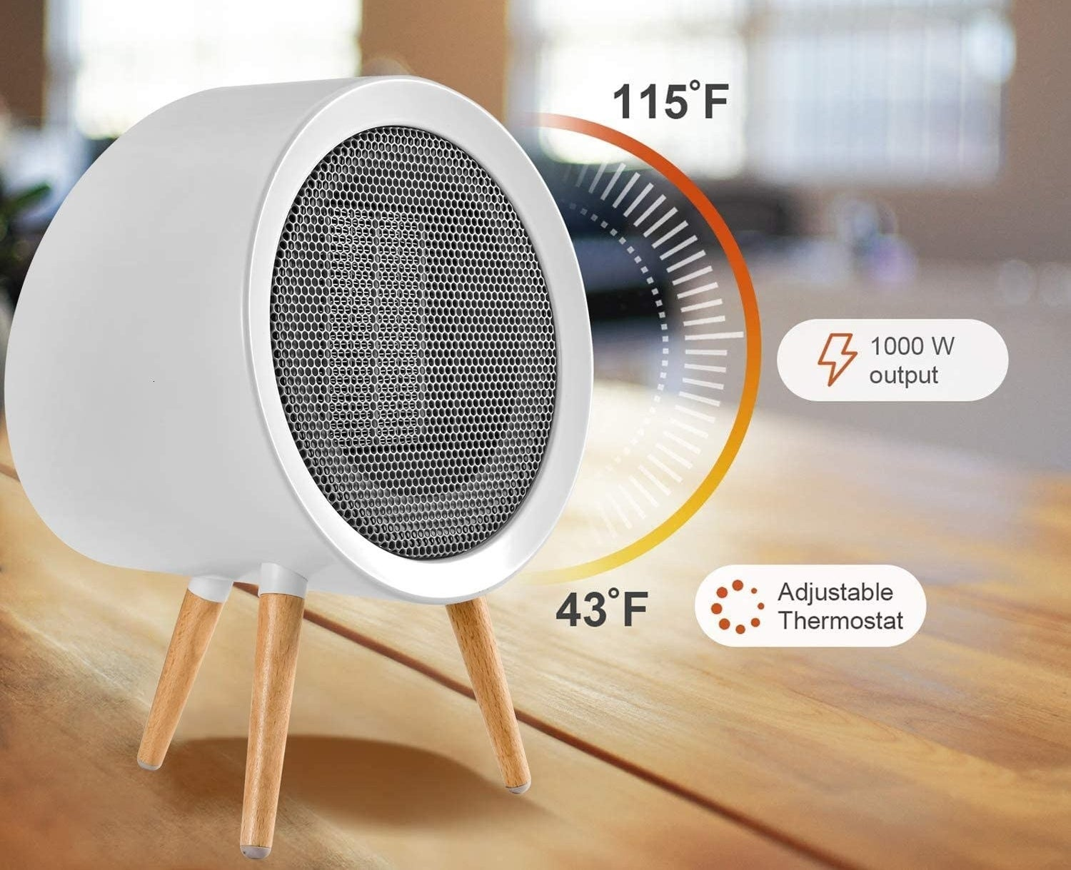 The space heater with a graphic showing the adjustable thermostat