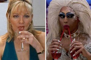 Drag queen and Samantha Jones drinking alcoholic beverages