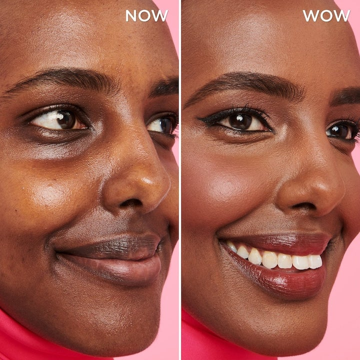 a model showing their skin before and after using the spray