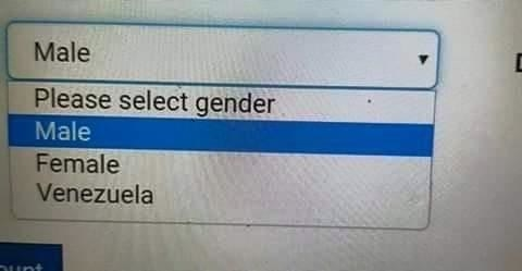internet pulldown reading please select gender male female venezuela
