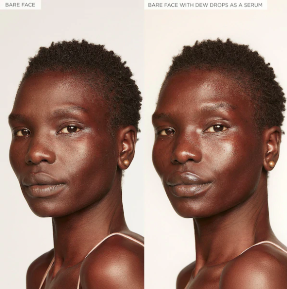 dark skin tone model with a bare face and then with the drops looking very dewy and glowy thanks to the drops
