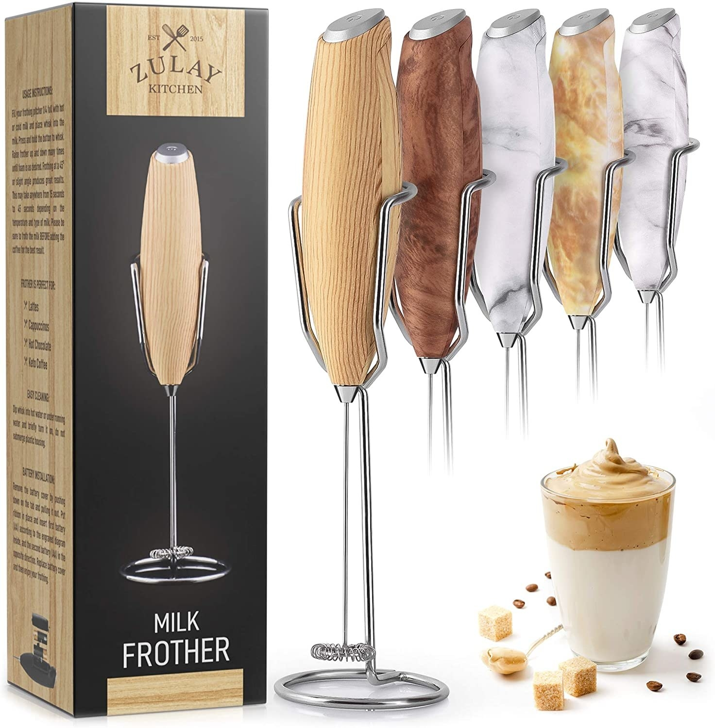 The milk frother which comes in different wood and stone finishes