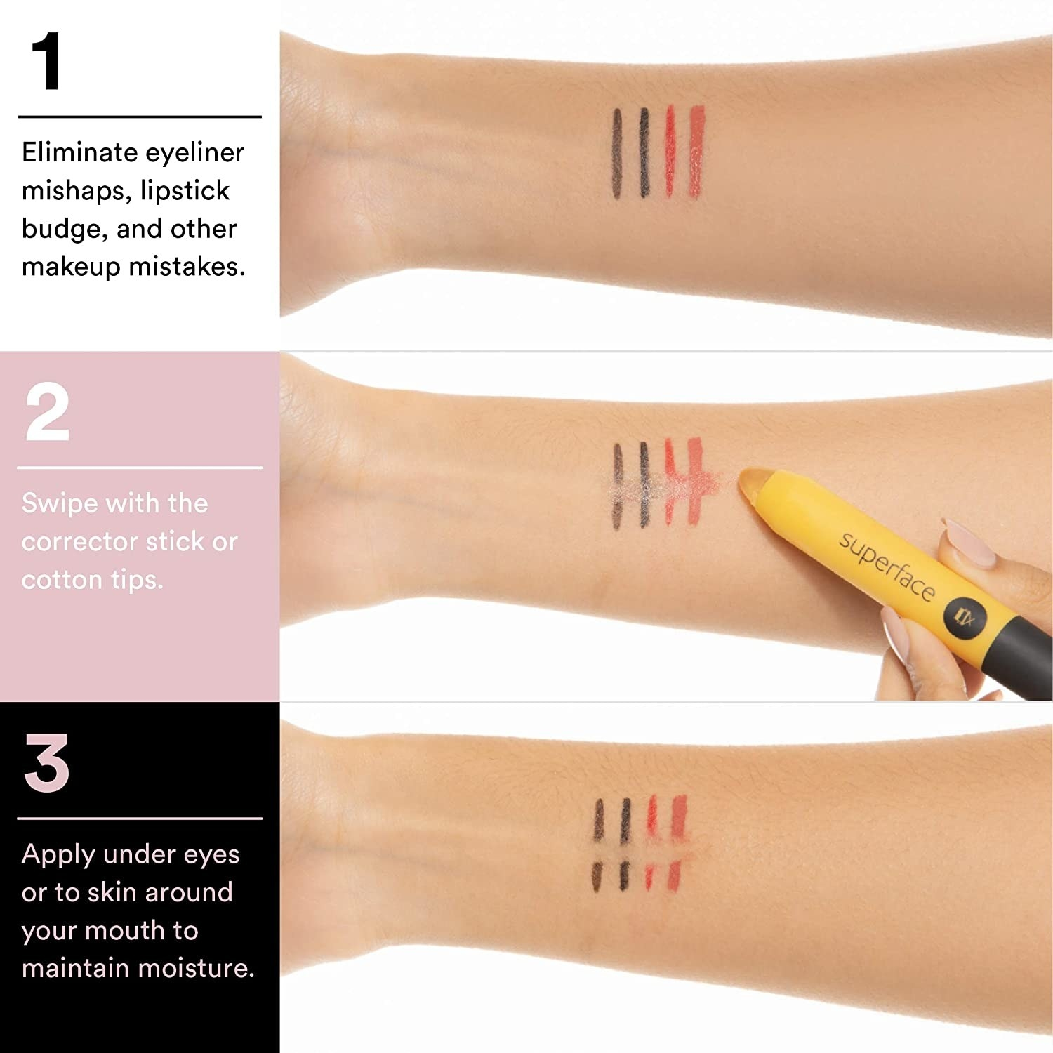 eyeliners on a forearm with them cleaning removed with the pen