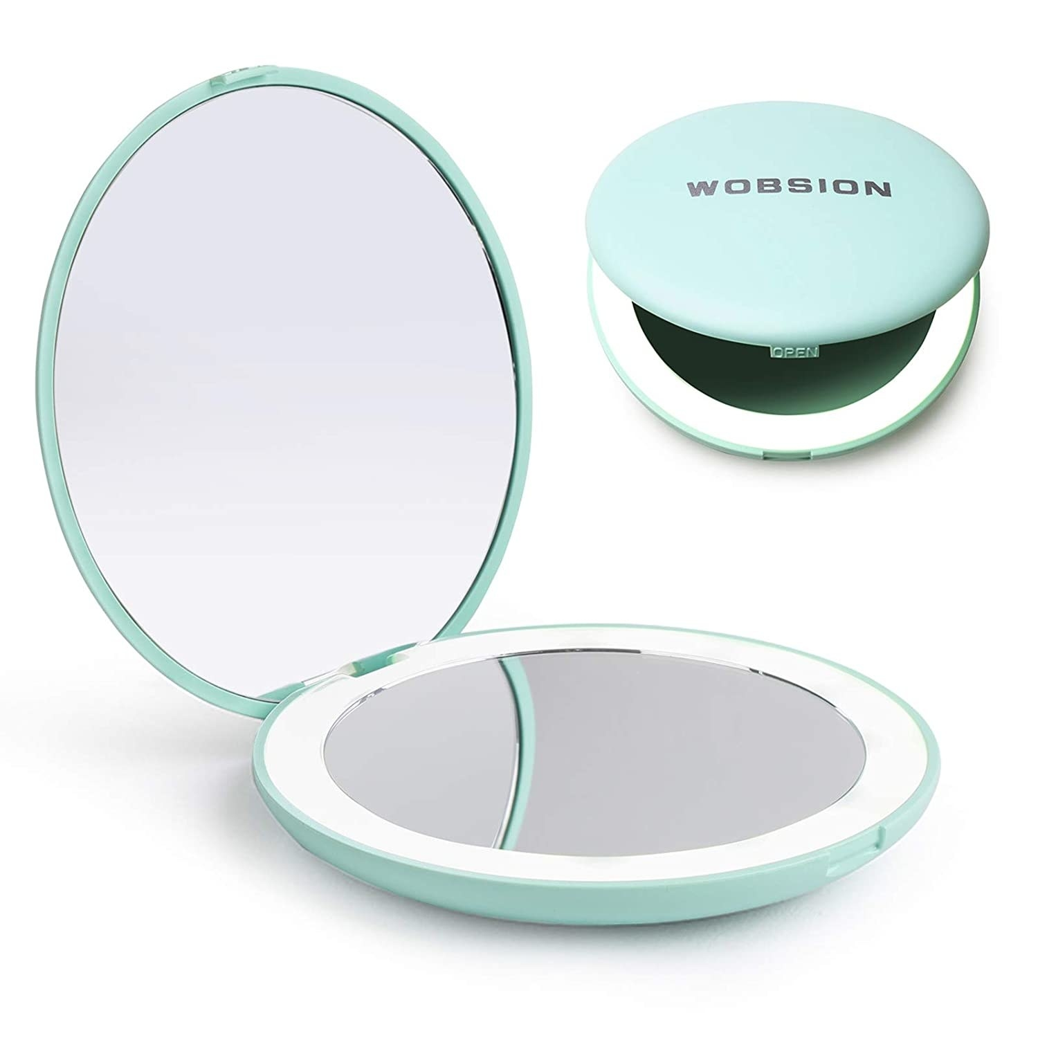 compact with two mirrors in it and a lighted ring around one of the mirrors