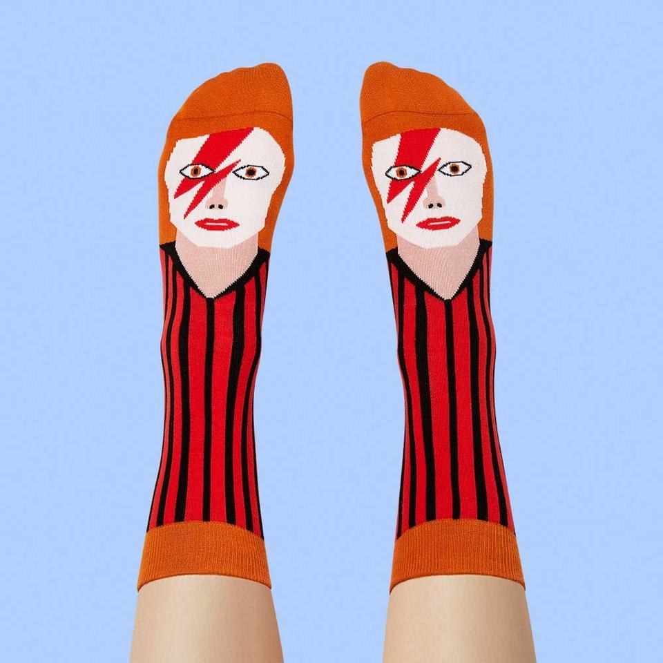 model wearing the David Bowie socks