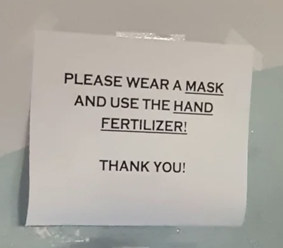sign reading please wear a mask and use the hand fertilizer