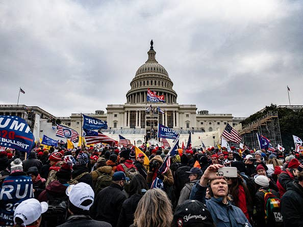 Insurrectionists in front of the U.S. Capitol