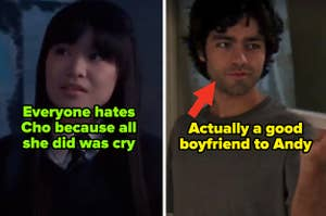 """Cho Chang from the """"Harry Potter"""" franchise and Nate from """"The Devil Wears Prada"""""""