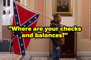 """A MAGA supporter carrying a confederate flag in the state capitol with the text """"where are your checks and balances?"""""""