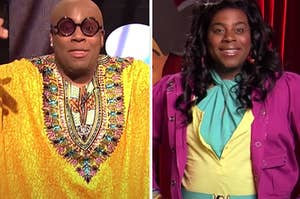 Side-by-side images of Kenan Thompson on SNL as Cee Lo Green and Raven-Symoné