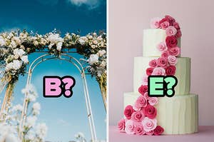 """B?"" over an arch and ""E?"" over a wedding cake"