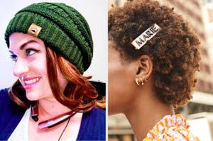 On the left, a reviewer in a green beanie. On the right, a model wearing a custom hair clip