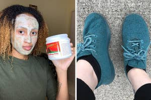 on the left a reviewer in a clay face mask, on the right the writer in teal allbirds sneakers