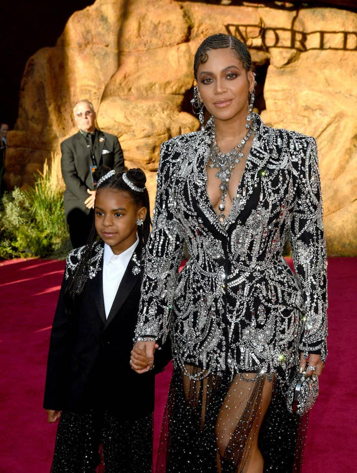 """Blue Ivy Carter and Beyoncé attend the 2019 premiere of Disney's """"The Lion King"""""""