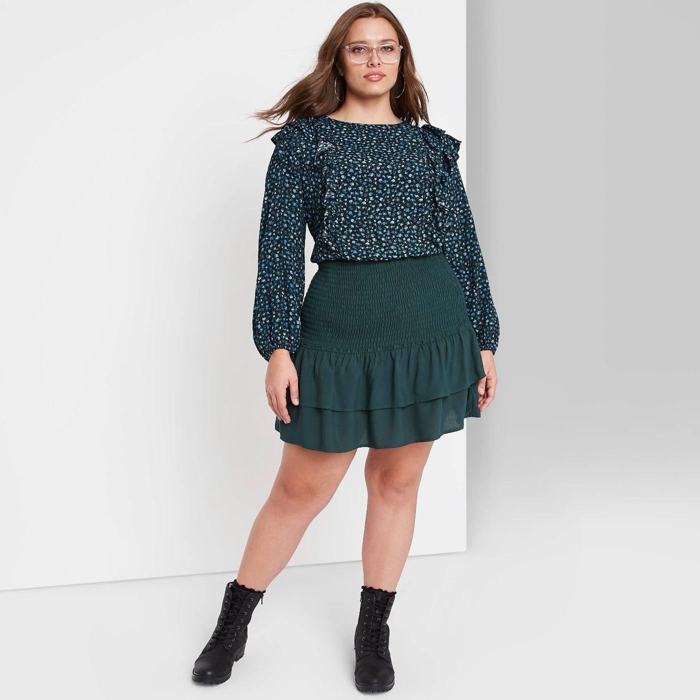 Model wearing the skirt