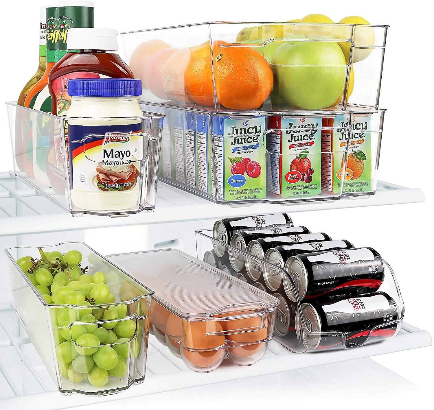 larger clear bins holding juice boxes and fruit; narrower bins holding condiments and grapes; egg bin, and soda bin