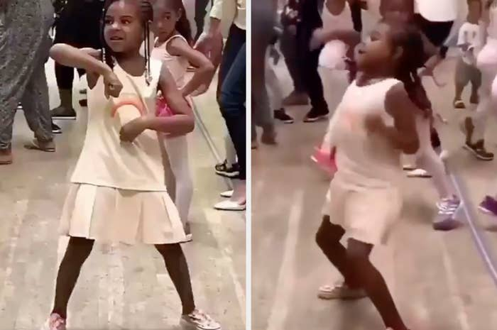 Blue Ivy dances with lots of fist-pumps among other young dancers
