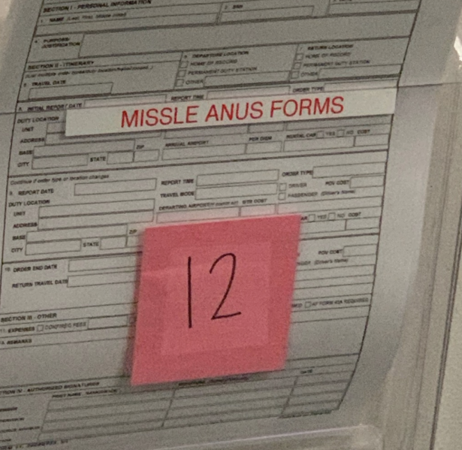 a bunch of forms labeled missle anus forms