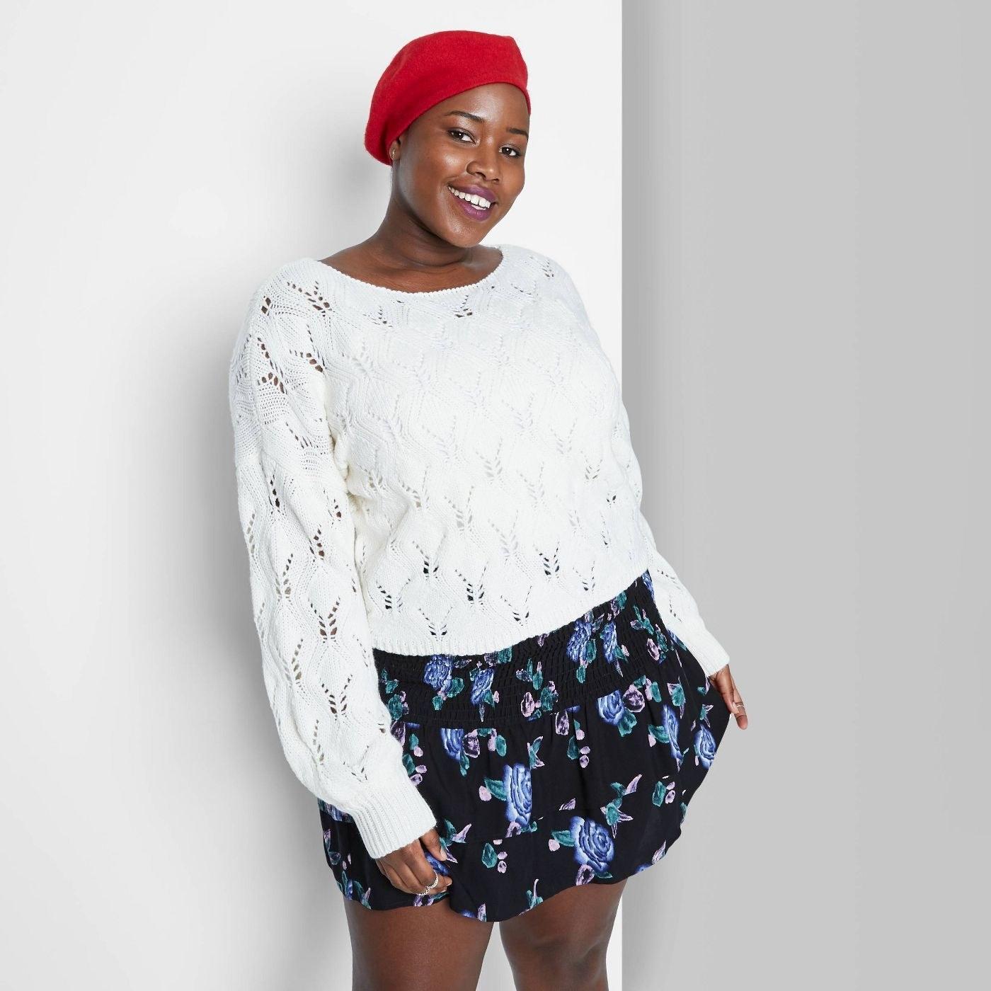 Model wearing the sweater