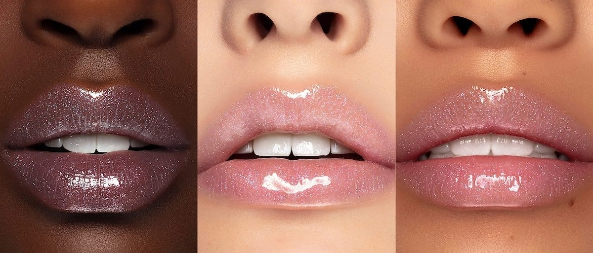 three lips with the sparkly lipgloss on