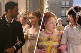Simon and Daphne at a ball; Eloise and Penelope promenading and gossiping