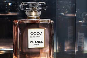 Closeup shot of glass perfume bottle