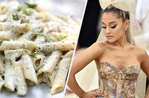 A plate of alfredo penne pasta is on the left with Ariana Grande wearing a huge bow on the right