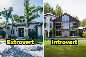 """Extrovert"" in front of a modern home and ""Introvert"" in front of a home with a pool"