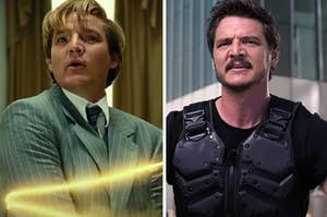 """Side-by-side images of Pedro Pascal in """"Wonder Woman 1984"""" and """"We Can Be Heroes"""""""