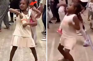 Blue Ivy Carter dances happily during dance class