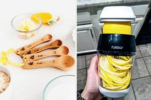 On the left, wooden measuring spoons with bee designs. On the right, veggie spiralizer with yellow zoodles inside