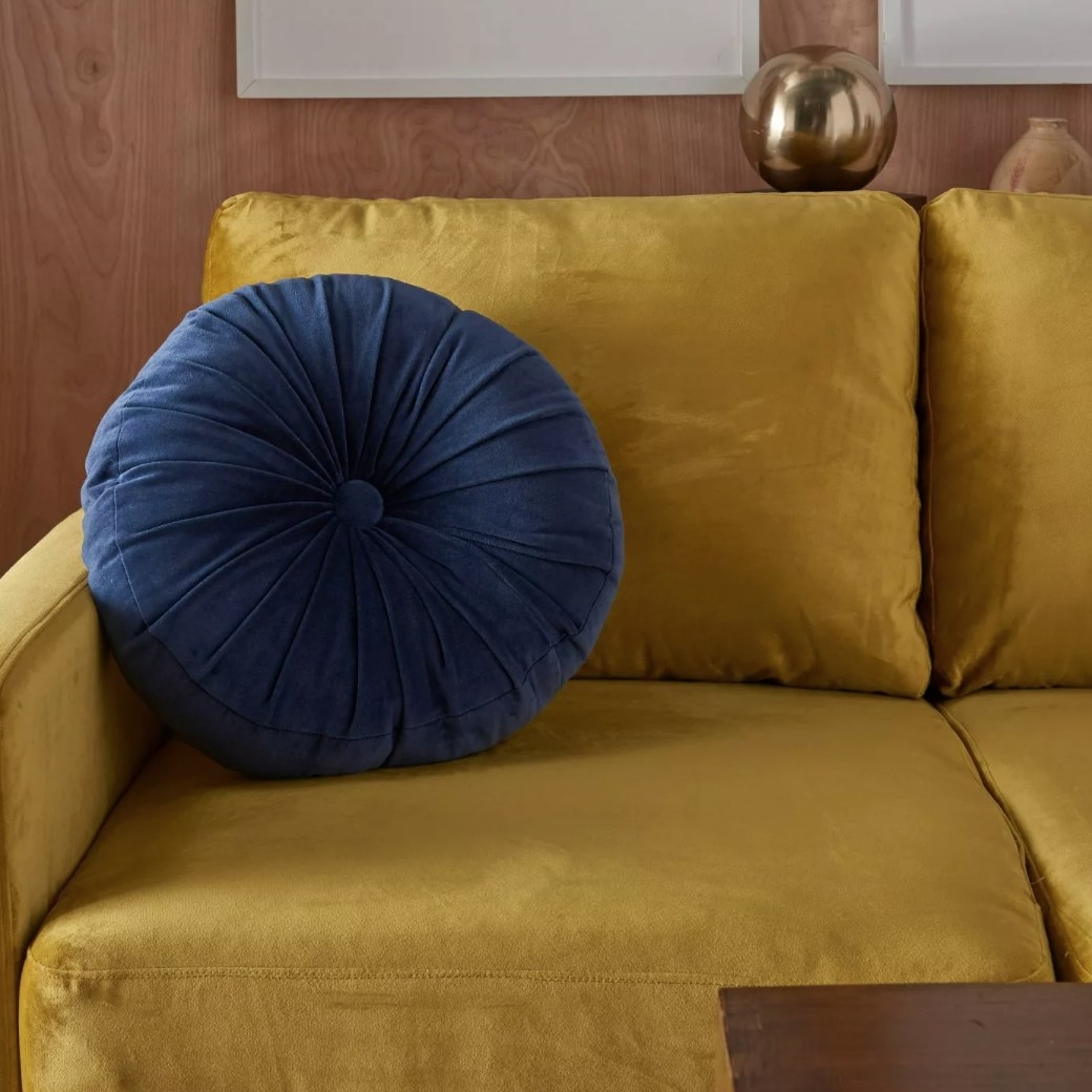 Round velvet throw pillow