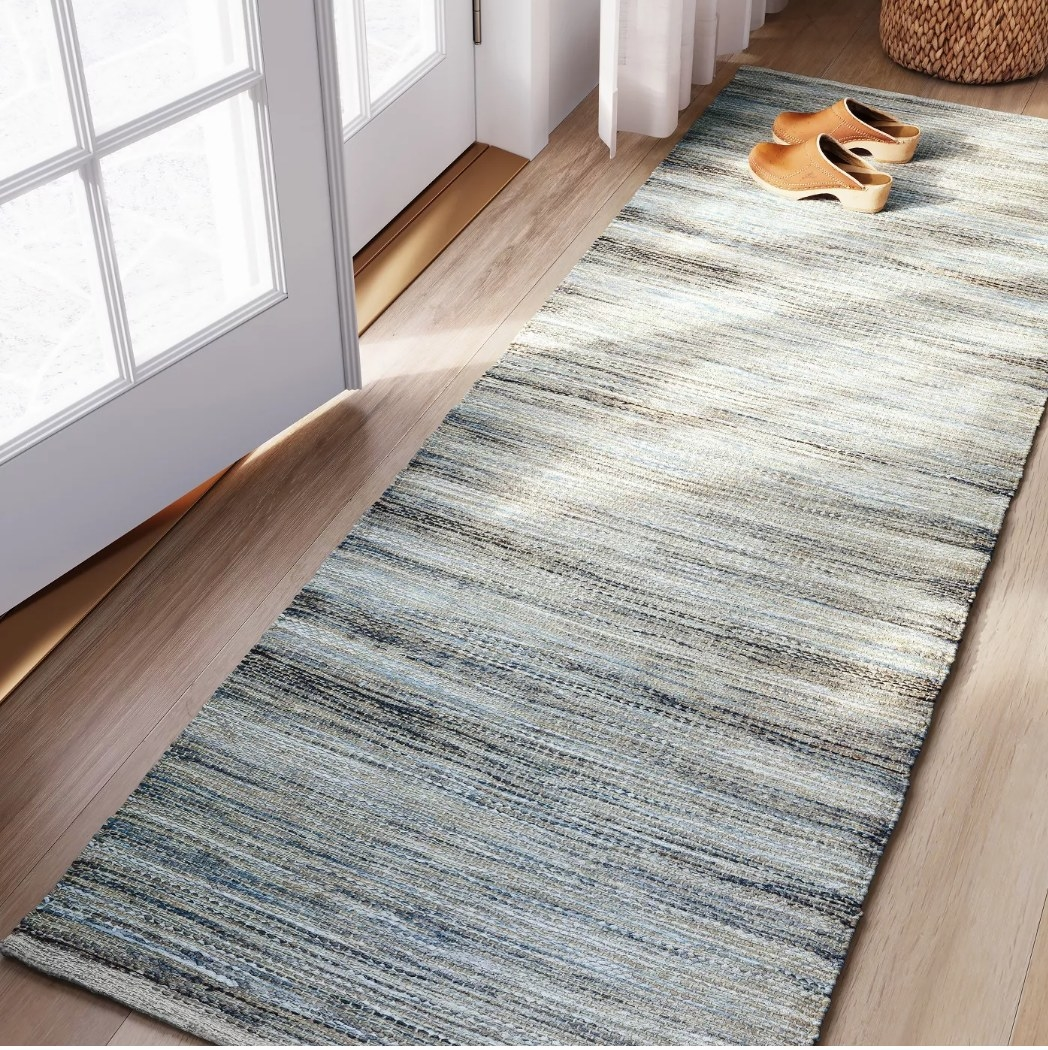 Multicolored woven runner rug