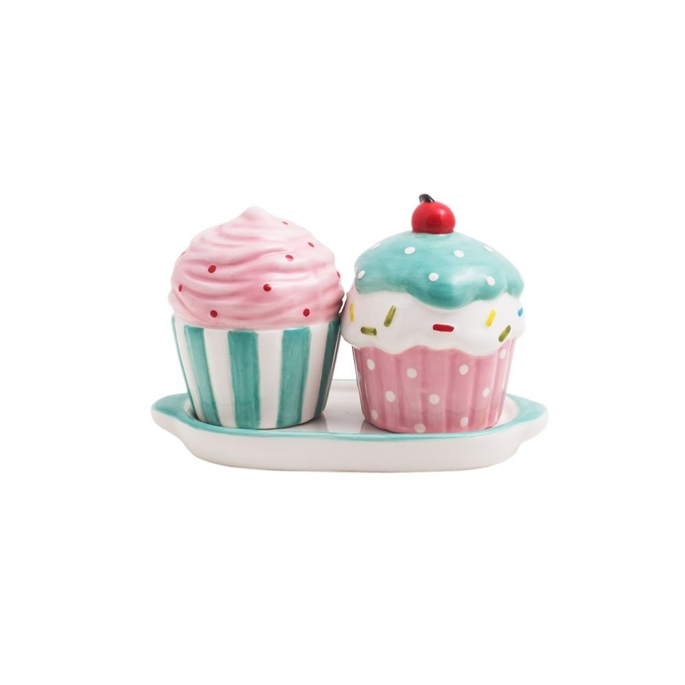 A blue and pink cupcake-shaped salt and pepper shakers