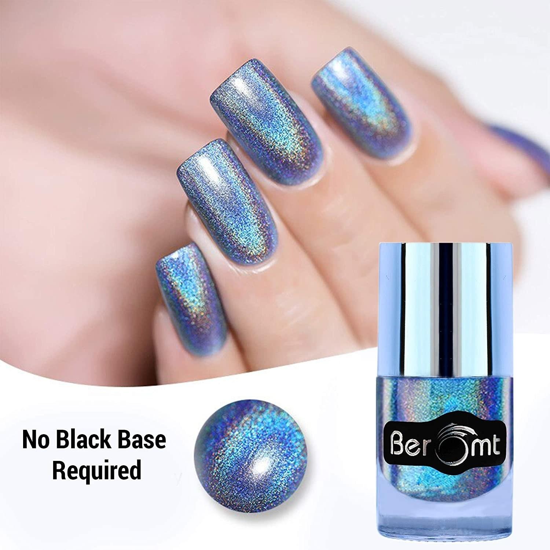 A holographic nail polish on a nail