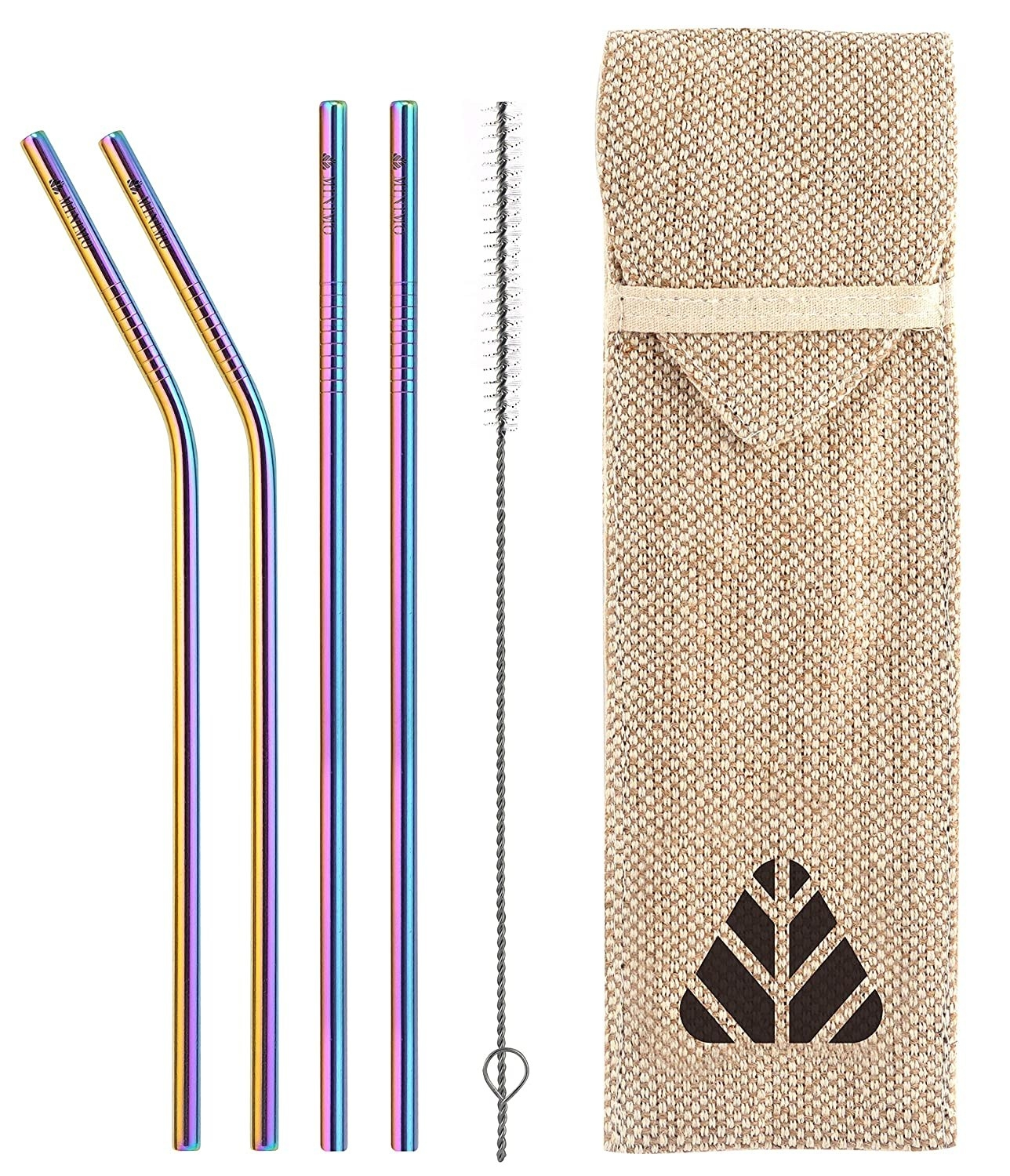 Rainbow stainless straws next to a cloth packaging
