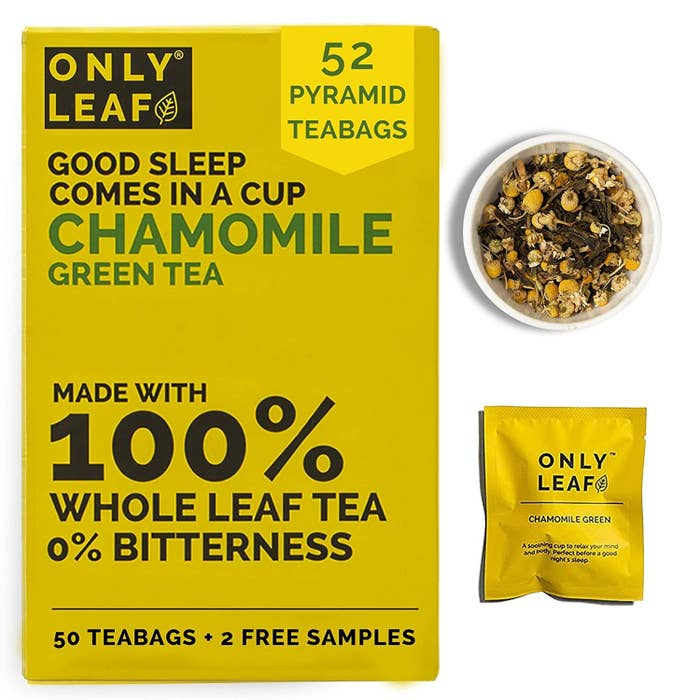 Yellow packaging of the chamomile tea