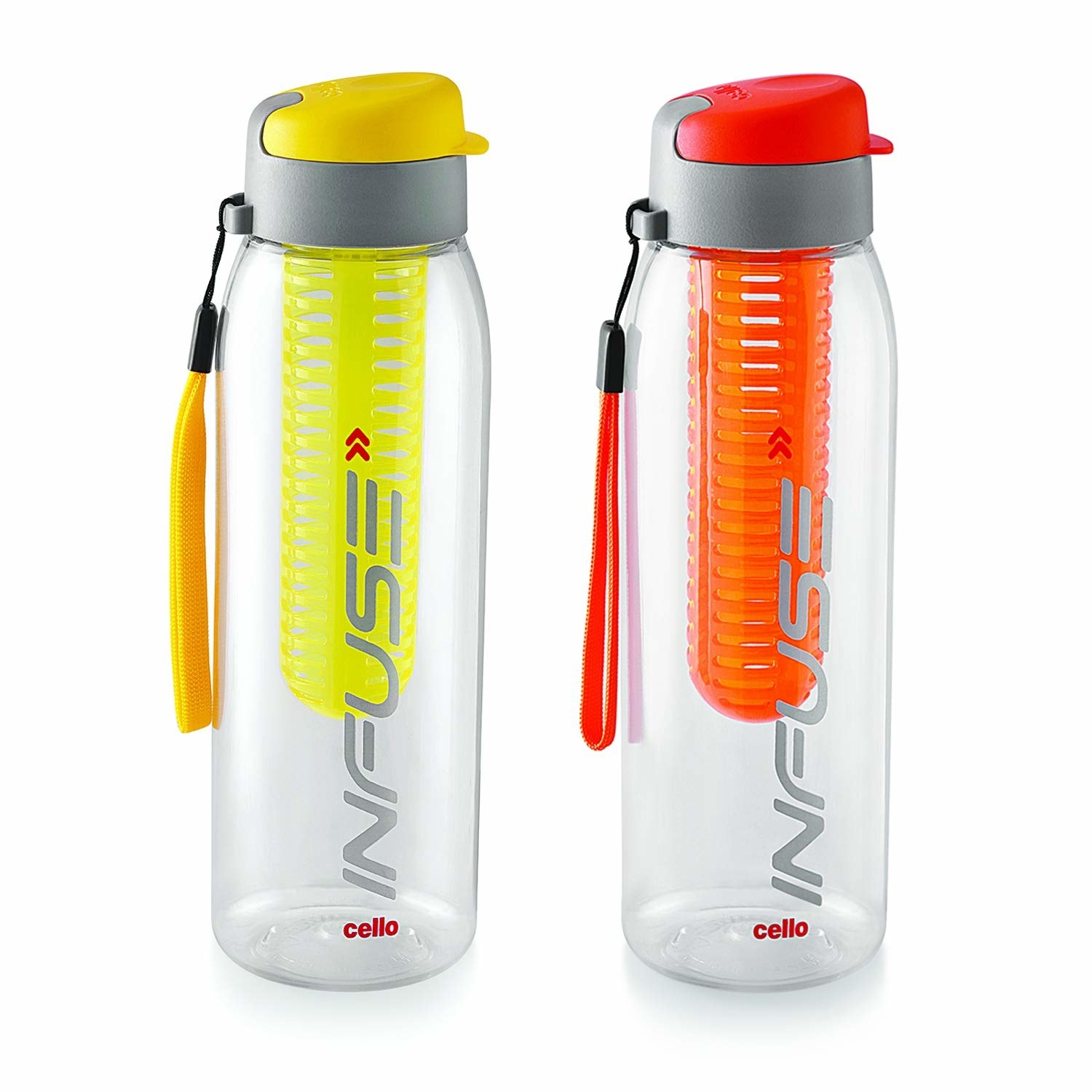 A yellow and orange infuser bottle